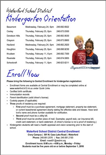 WSD Kindergarten Orientation