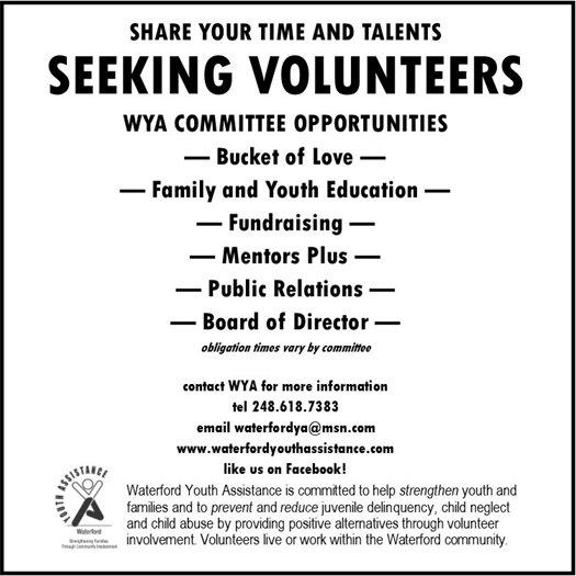 Seeking Volunteers Waterford Youth Assistance