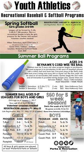 Youth Softball and baseball
