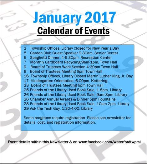 January 2017 Calendar of Events