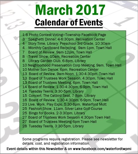 March 2017 Calendar of Events