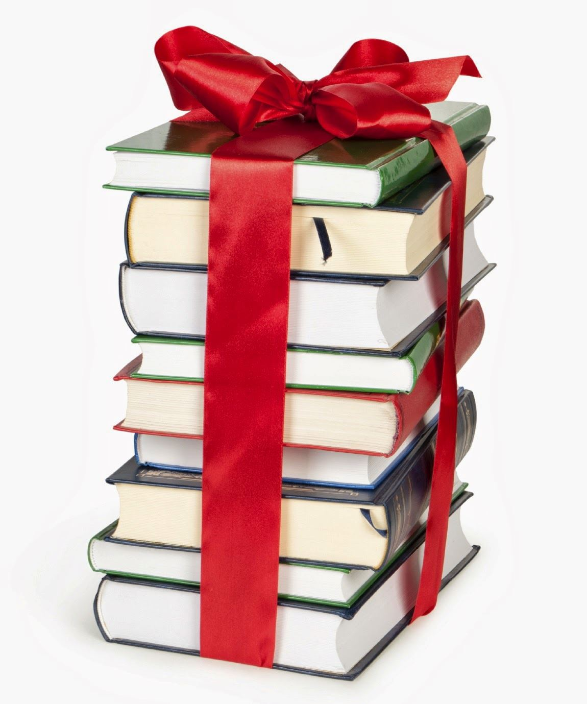 Pile of books tied together with red bow