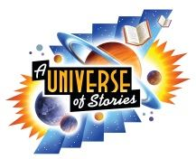 Universe of Stories graphic with outer space and books