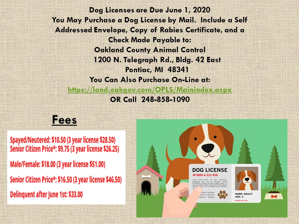 Dog Licenses are due June 1, 2020