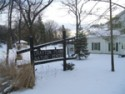 The nature center with fresh snow on the ground