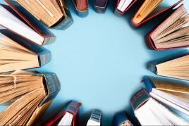 Books standing up in a circle