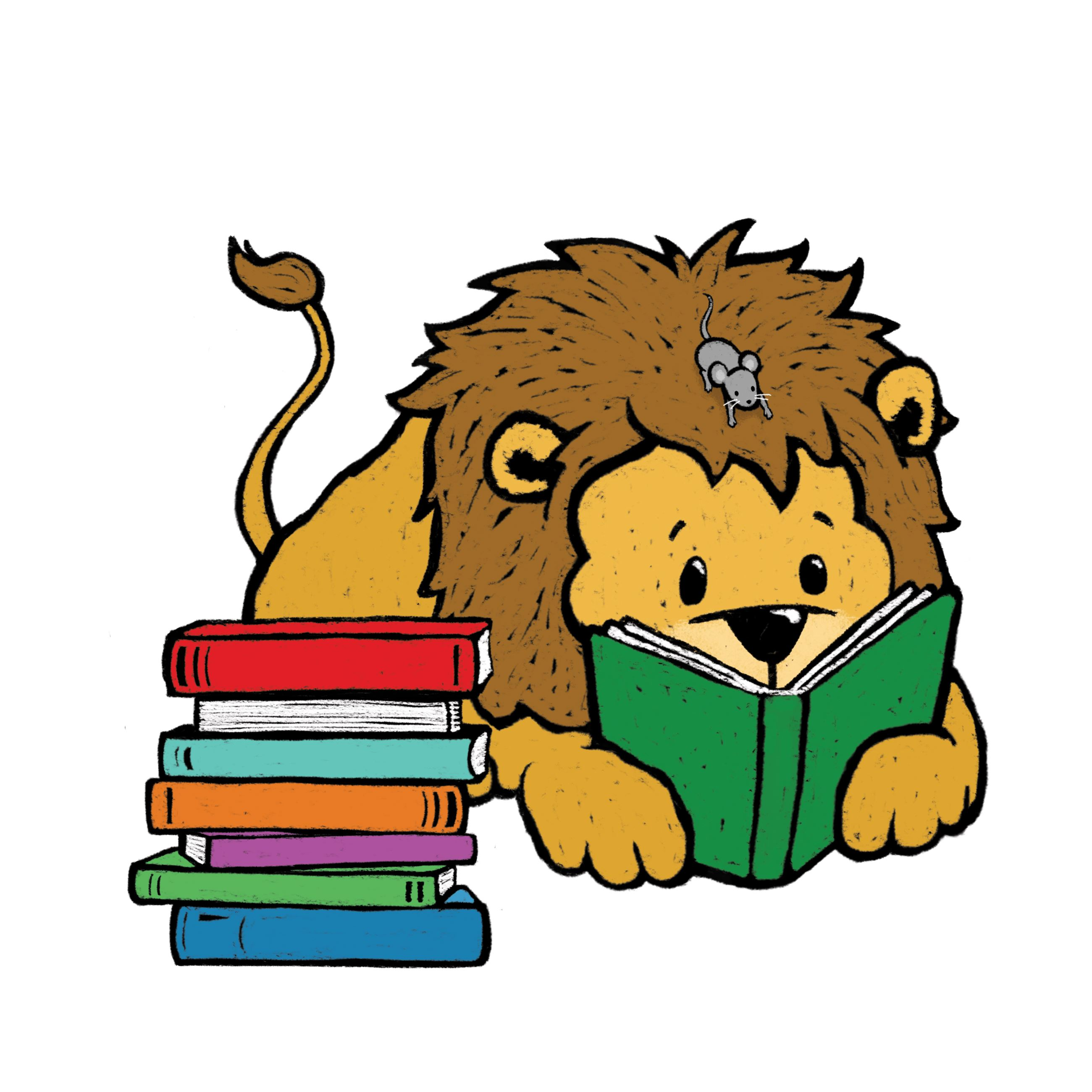 lion and mouse reading